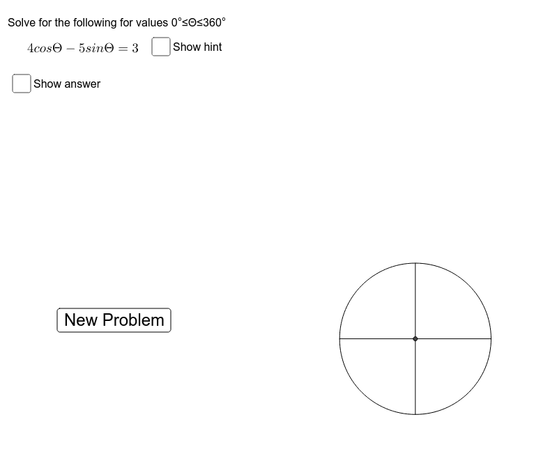 Try solving the following problems on a separate piece of paper. Click show answer only when you are done. Press Enter to start activity