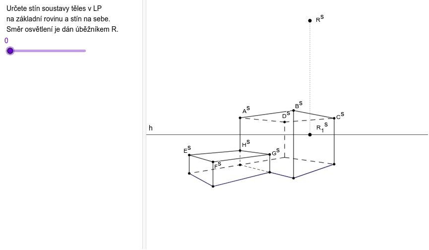 Stín soustavy kvádrů na základní rovinu Zahajte aktivitu stisknutím klávesy Enter