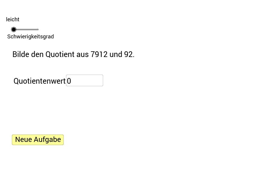 Trage den Wert des Quotienten in das Textfeld ein und bestätige die Eingabe mit der Enter-Taste. Den Schwierigkeitsgrad kannst du mit dem Schieberegler einstellen. Drücke die Eingabetaste um die Aktivität zu starten