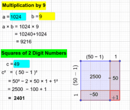 Multiplication by 11 and Squares of 2 digit numbers