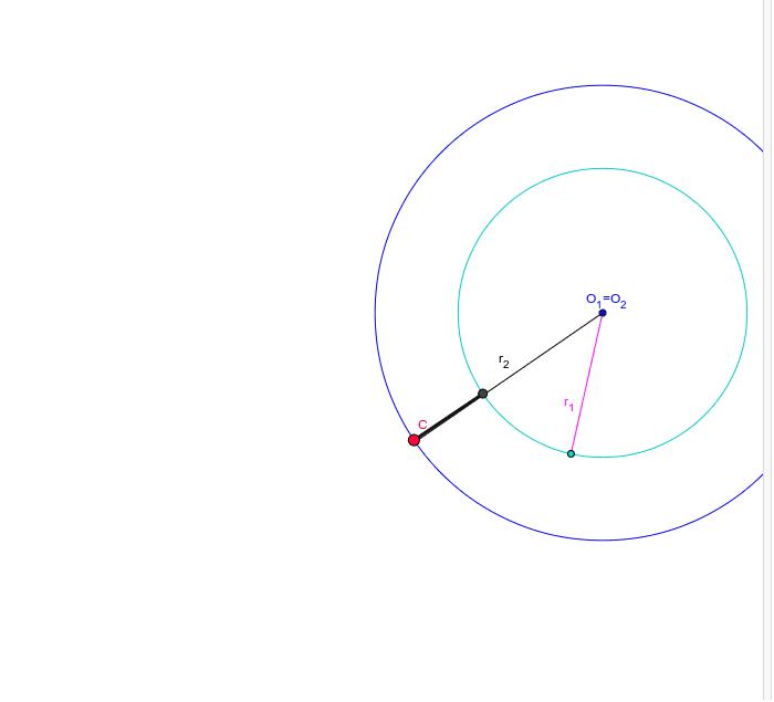 """Assinala os pontos cuja distância ao centro é maior ou igual do que o raio r1 e é menor ou igual do que o raio r2. Aponte para o ponto C e, com o botão direito do rato selecione """"Animar"""" Press Enter to start activity"""