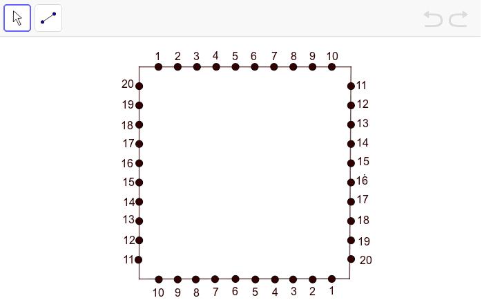 自定連線規律,用直線把點連起來,製作出繡曲線圖案。 按 Enter 鍵開始活動