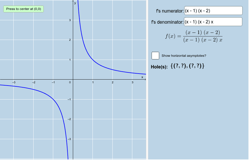 Plot a rational function that is undefined at x=-1 but yet whose limit as x approaches -1 exists. Press Enter to start activity