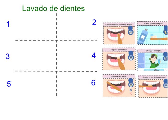Ordena las imágenes sobre como lavarse los dientes. Presiona Intro para comenzar la actividad