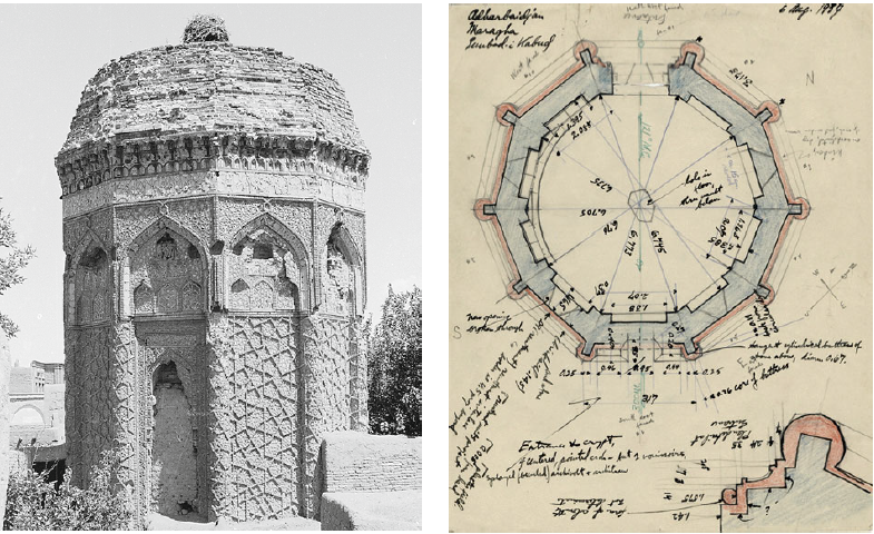 Both picture and the drawing of the tomb date from 1937 and clearly show the building is decagonal.