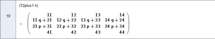 [size=100]Im Ergebnis erhalten wir Zeile2=q*Zeile1+Zeile2 und Zeile3=p*Zeile2+Zeile3 Die Zeilenumformung Zeile1+Zeile2 soll im Lösungsschritt Gauss/LR-Zerlegung in der ersten Spalte 0 ergeben: 11q + 21 = 0 q = -21/11 oder allgemein q = -A(2,1)/A(1,1)[/size] Je nach Versionszustand muss die Matrixindizierung auch via Befehl ELEMENT erfolgen: A(2,1) = ELEMENT(A,2,1)!