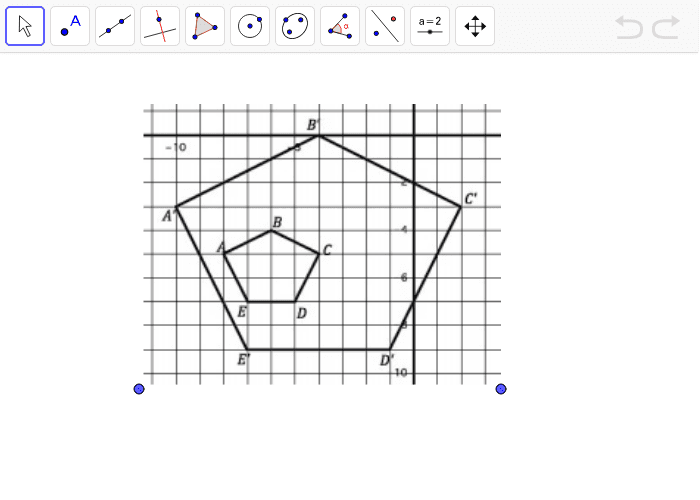 Use the line tool to find the center of dilation.  Press Enter to start activity