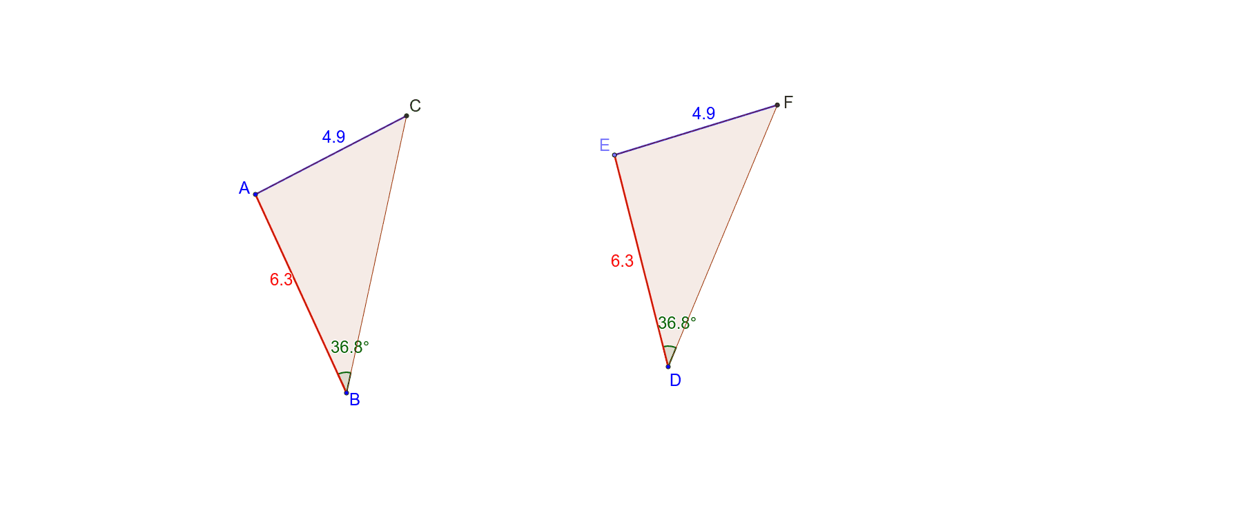 Drag any point on triangle ABC to resize the triangle. Study what happens to triangle EDF when you resize triangle ABC. Also try to coincide (put one triangle on top of the other) and see if they match up. Press Enter to start activity