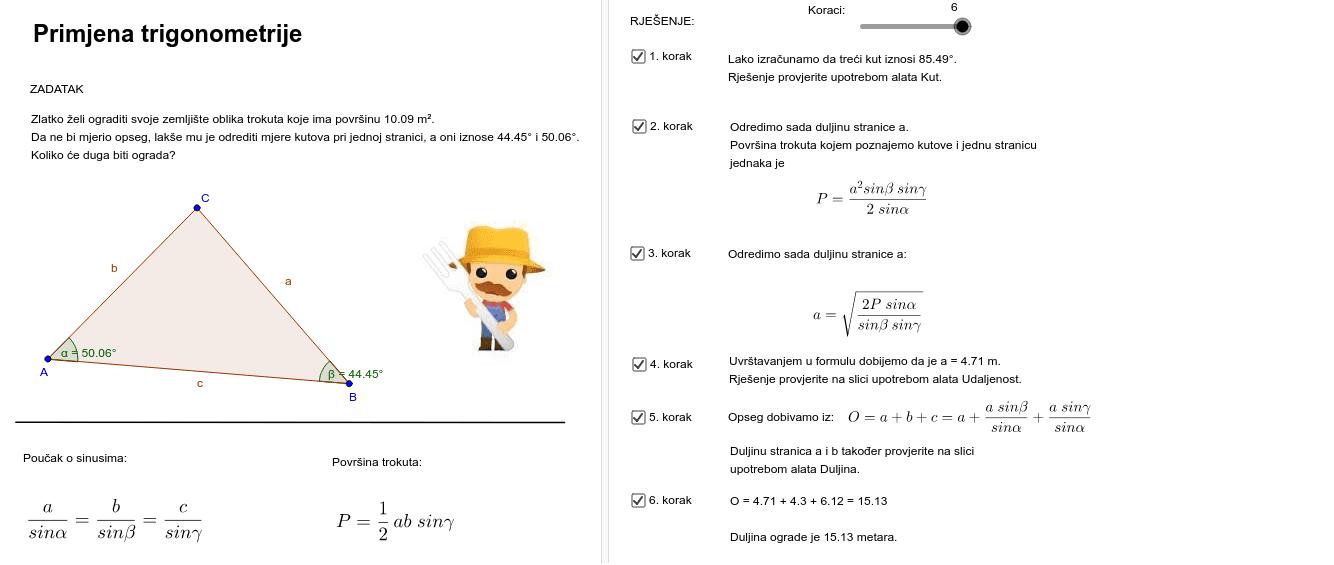 Primjena trigonometrije  Pritisnite Enter za pokretanje.