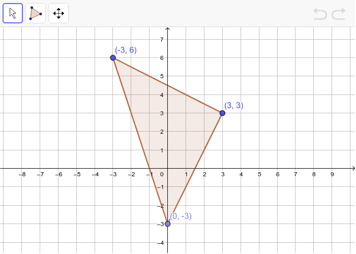 Dilate the triangle below by a scale factor of 1/3. Press Enter to start activity