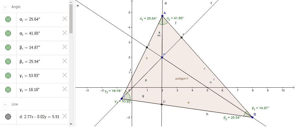 Ceva tétel algebrai és trigonometriai alakja Press Enter to start activity