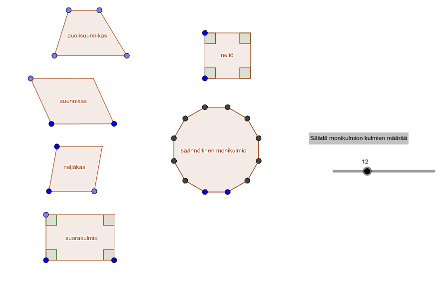 Voit muuttaa monikulmioiden muotoa siirtämällä sinisiä pisteitä Paina Enter aloittaaksesi