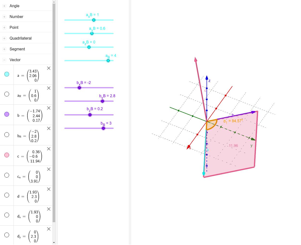 Das Kreuzprodukt c der Vektoren a und b steht sowohl zu Vektor a als auch b senkrecht. Der Betrag des Kreuzprodukts c kann sich visuell als der Flächeninhalt der zwischen den Vektoren a und b eingespannt wird, vorgestellt werden. In dieser Animation könne Drücke die Eingabetaste um die Aktivität zu starten