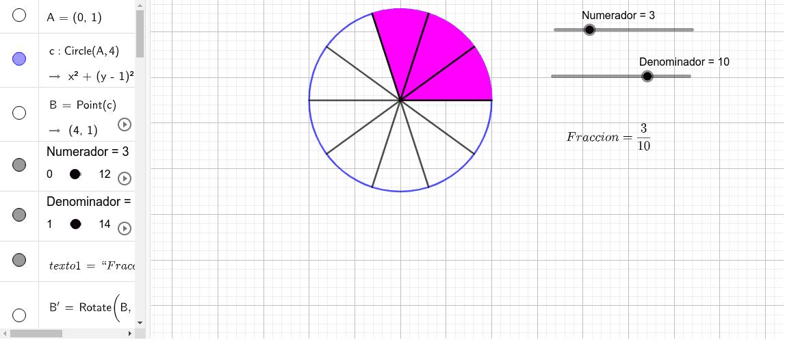 Al mover el punto sobre el numerador y el denominador, te mostrara la fracción indicada. Presiona Intro para comenzar la actividad