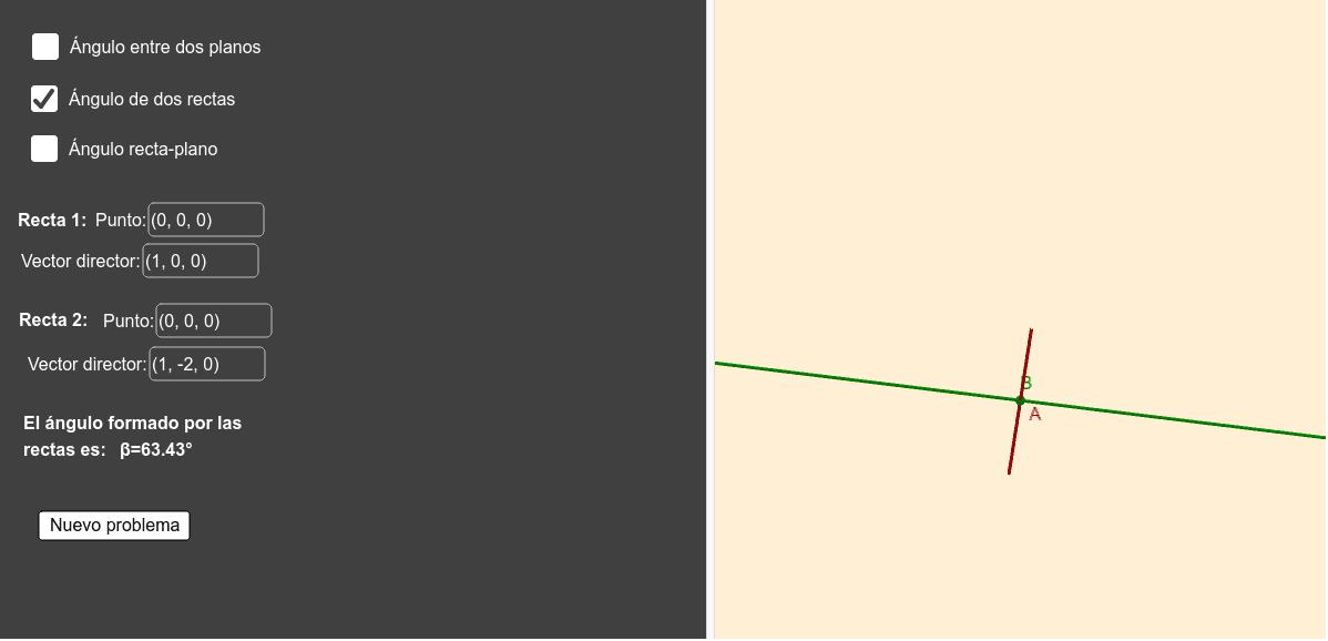 Con este applet puedes hallar ángulos en el espacio tridimensional Press Enter to start activity