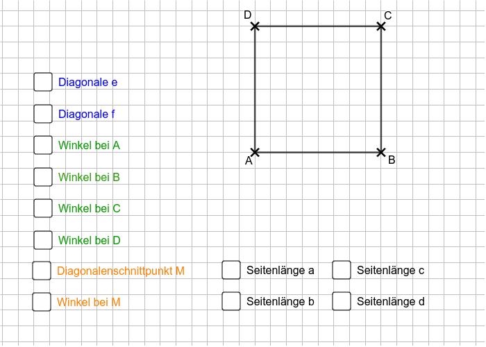 Bewege die Eckpunkte A, B, C und D um dir die Eigenschaften der Vierecke zu erschließen. Nutze auch die zusätzlichen Informationsmöglichkeiten durch anklicken. Drücke die Eingabetaste um die Aktivität zu starten