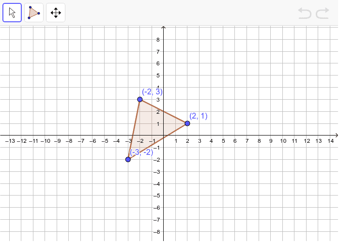 Dilate the triangle below by a scale factor of 2. Press Enter to start activity