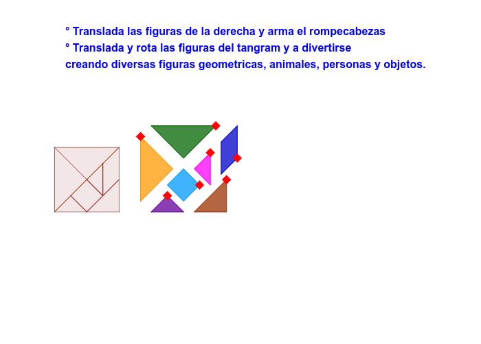 Arma el cuadrado con las fichas del tangram. Luego, con esas fichas invéntate una figura.  Presiona Intro para comenzar la actividad