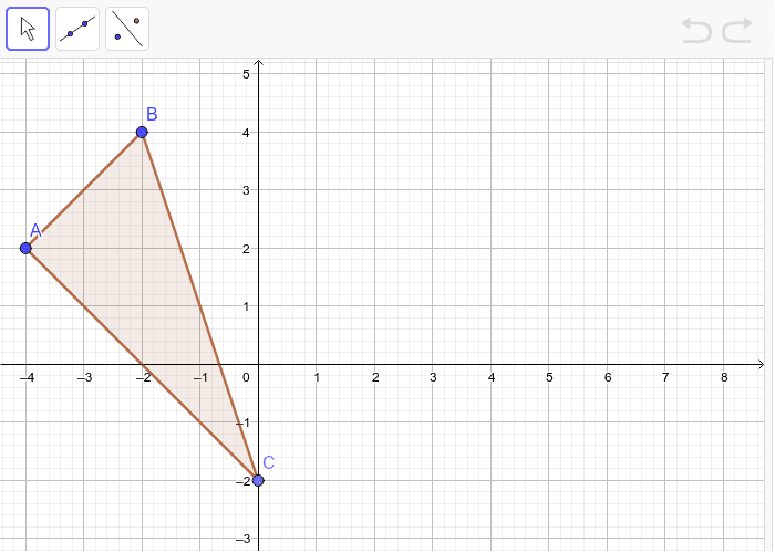1.  Translate triangle ABC down 2 and right 4.  Then reflect over the x-axis.   Press Enter to start activity