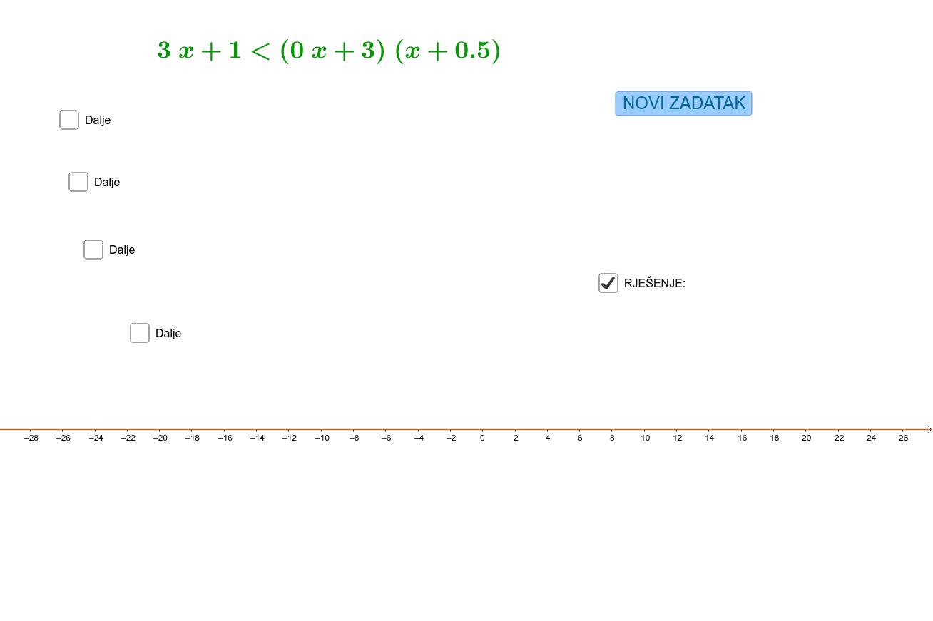 Linearna nejednadžba Pritisnite Enter za pokretanje.