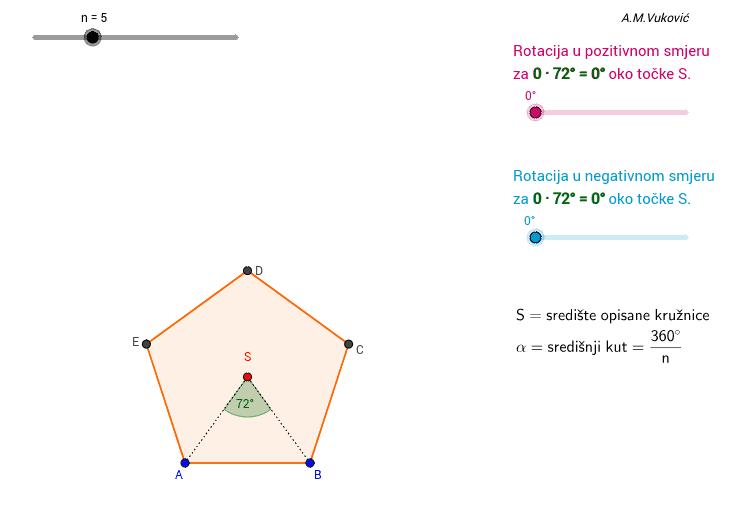 3.) Rotacija pravilnog mnogokuta oko središta Pritisnite Enter za pokretanje.