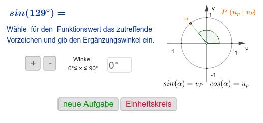 Finde den Funktionswert über einen Winkel im I.Quadranten Drücke die Eingabetaste um die Aktivität zu starten