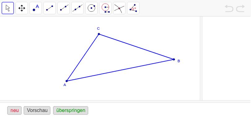 Konstruiere den Inkreis des Dreiecks ABC. Drücke die Eingabetaste um die Aktivität zu starten