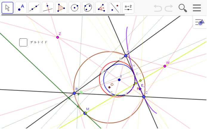 傍心(W,Z,A_1)を通る直線(外接円Mと)の直極点の軌跡はデルトイドか? ワークシートを始めるにはEnter キーを押してください。