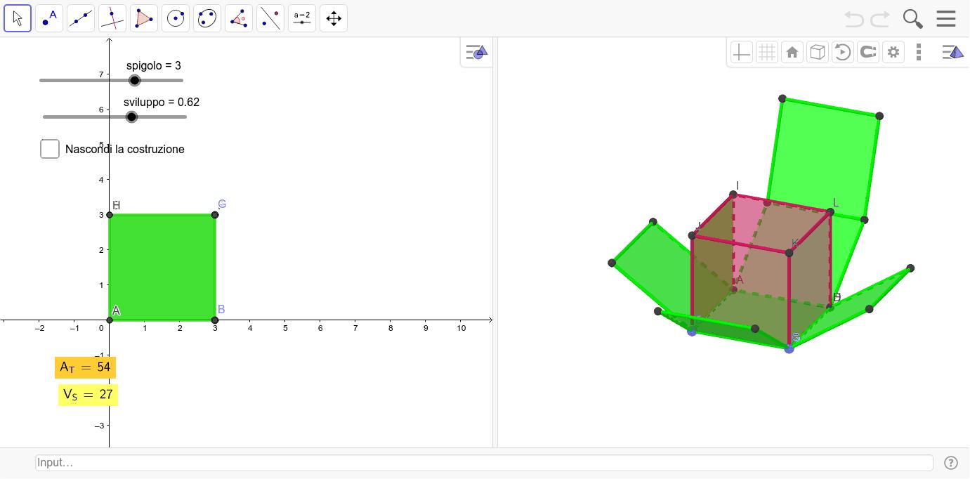 Costruiamo un Cubo e calcoliamo AT e V del Solido Premi Invio per avviare l'attività