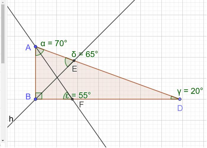 Derékszögű háromszögben az egyik szögfelező 65 fokot zár be a szemközti oldallal. Mekkorák a hegyesszögek? Press Enter to start activity