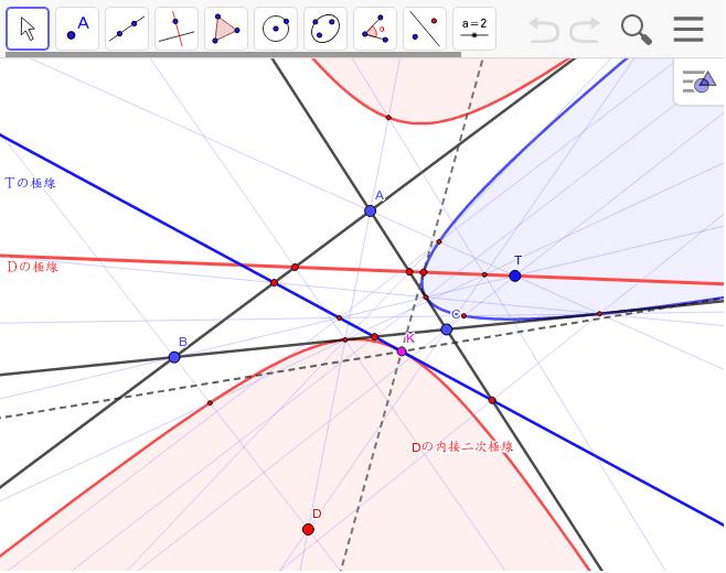 これで接線になることを証明できないだろうか? 「三角形の極線上の点を極とする極線は、元の内接円錐曲線に接する」このことを証明するために極線上の点を極とする内接楕円を作図して考察する。 ワークシートを始めるにはEnter キーを押してください。