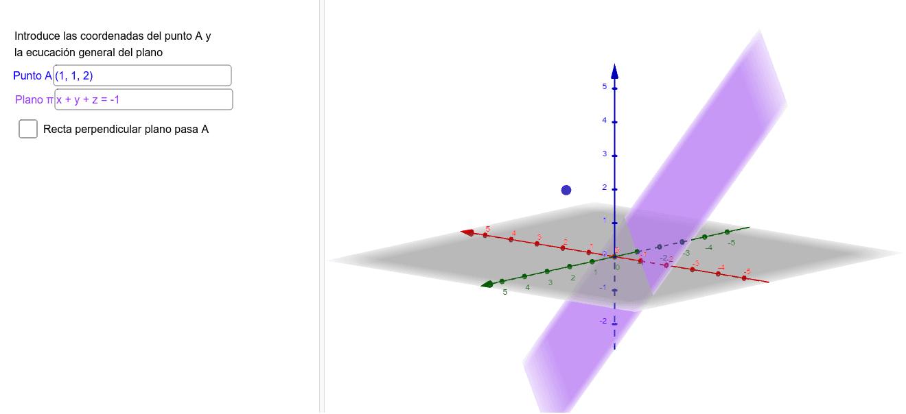 Introduce las coordenadas del punto A y la ecuación general del plano. Para poder calcular la distancia punto plano realizaremos una recta perpendicular al plano que pase por A. Posteriormente calcularemos la intersección de dicha recta con el plano (punt Presiona Intro para comenzar la actividad