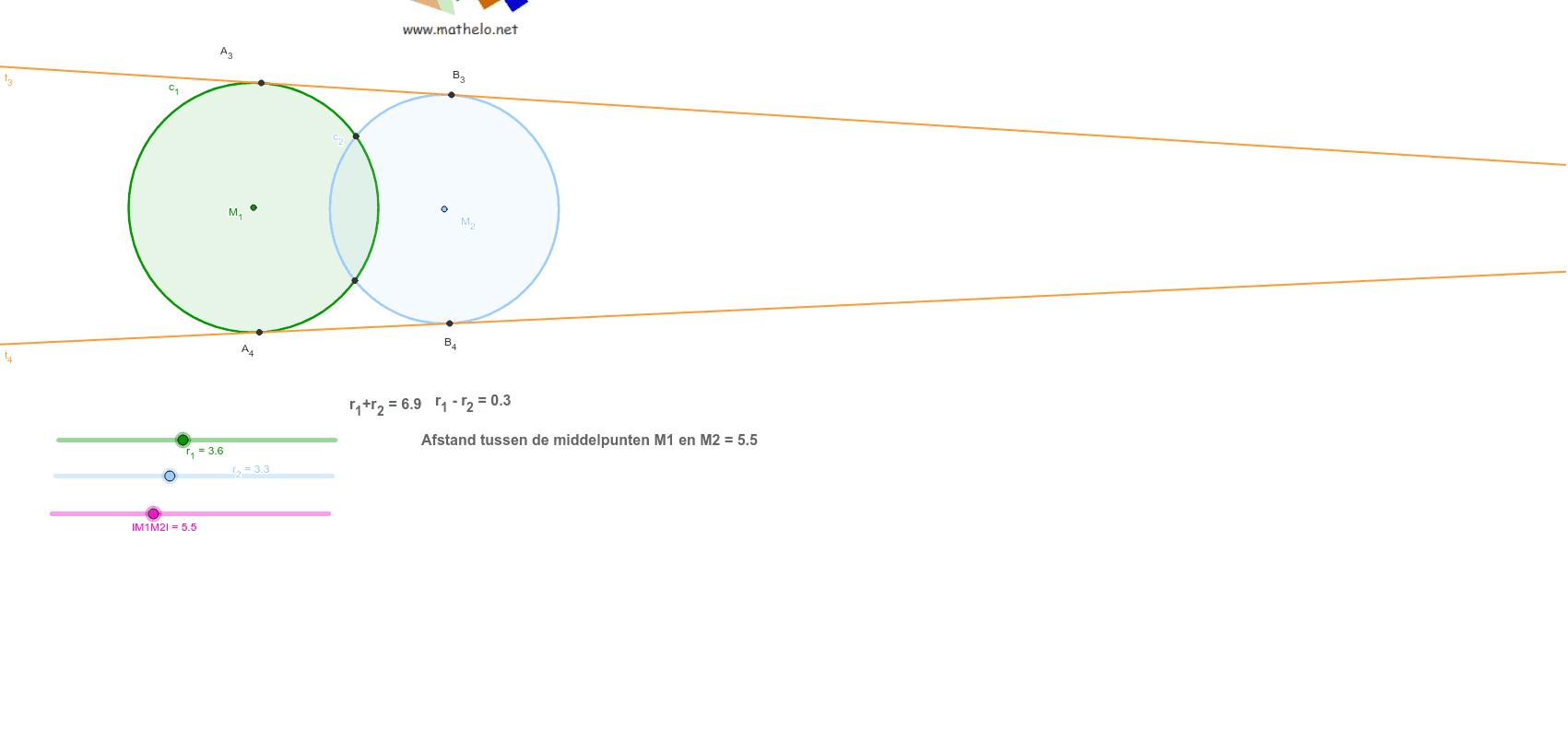 Aantal raaklijnen aan twee cirkels Klik op Enter om de activiteit te starten