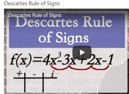 Descartes rule Video Lesson