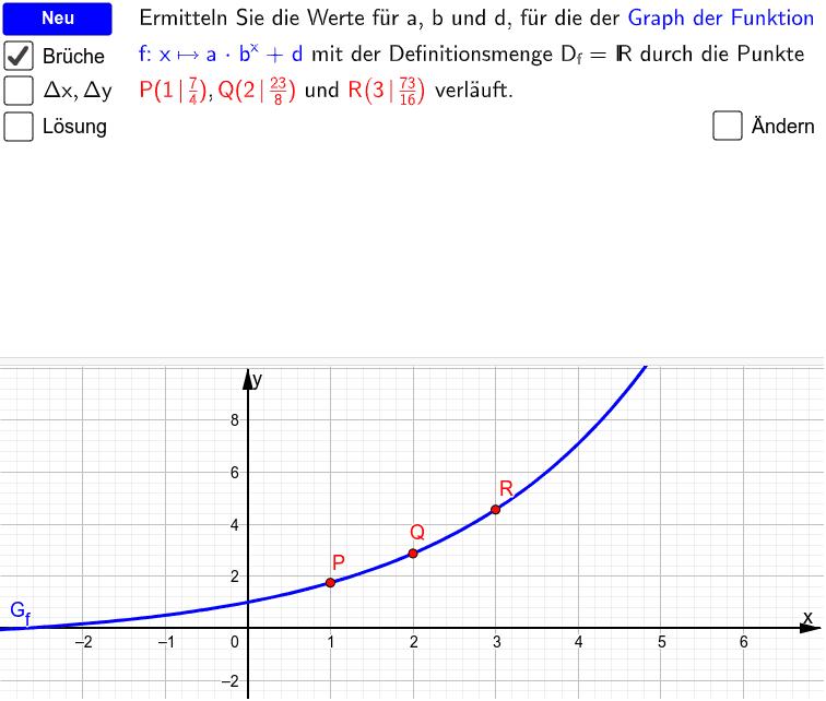 Gleichung einer Exponentialfunktion zu 3 gegeben Punkten ermitteln Drücke die Eingabetaste um die Aktivität zu starten