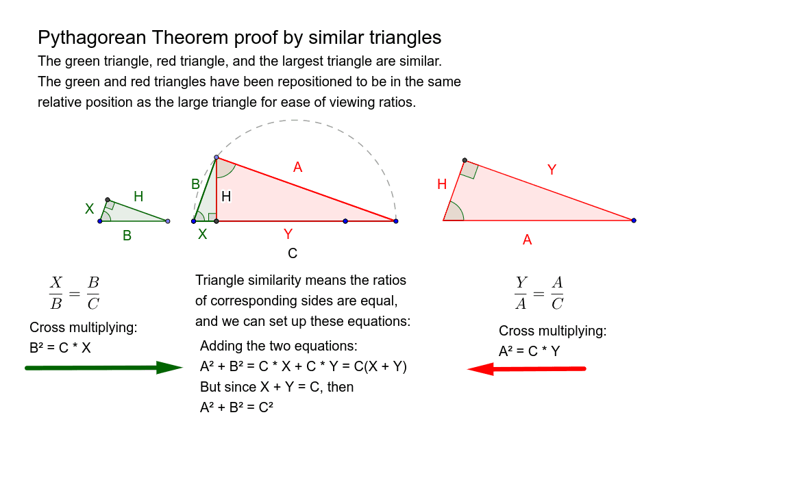 3. Bill Lumbard Similar Triangle Proof of Pythagorean Theorem Press Enter to start activity