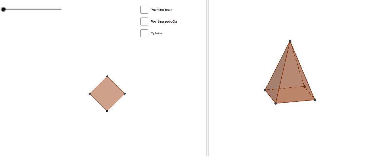 Pomičite kružić i dobit ćete mrežu piramide.  Znate li formule za površinu baze, pobočja te oplošje piramide? Klikom na kvadratić dobit ćeš odgovor na pitanja. Pritisnite Enter kako bi pokrenuli aktivnost