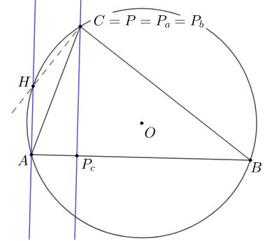 Obrázek 6.6: Rovnoběžka se Simsonovou přímkou pro případ P=C Zahajte aktivitu stisknutím klávesy Enter
