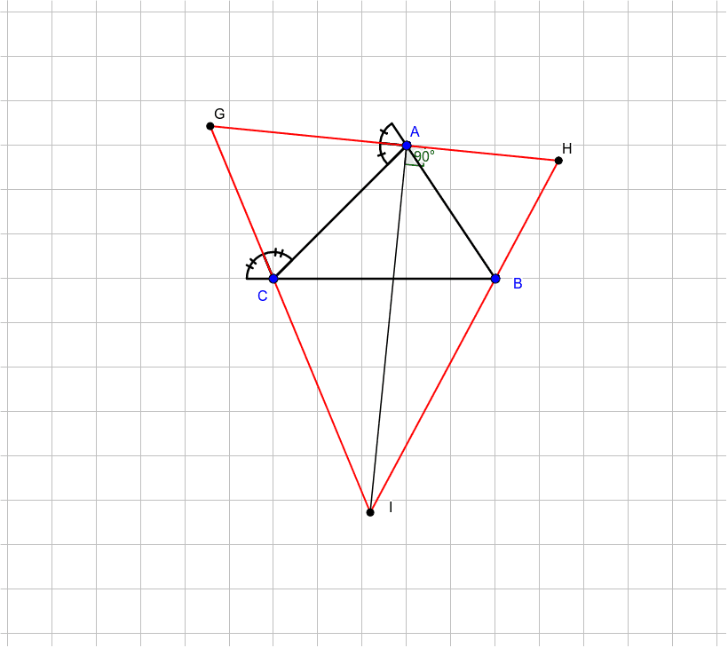 Given triangle ABC, its external angle bisectors form the triangle GHI. What can one say about GHI? Press Enter to start activity
