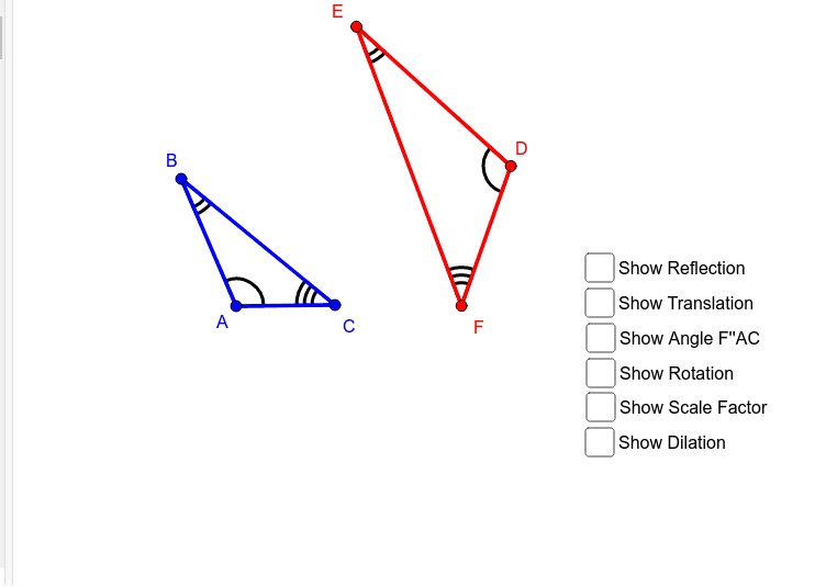Reflect DEF over any line, rotate the right amount, and then find the dilation to bring red to blue. Press Enter to start activity