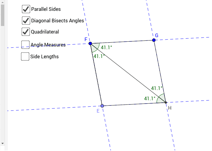 Figure #3: Parallelogram with Diagonals Perpendicular Press Enter to start activity