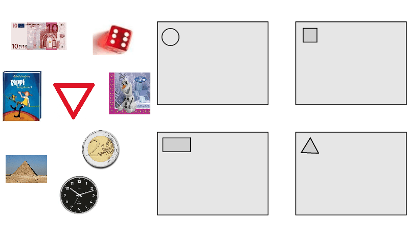 Classify each object on the left by its shape. Do so by dragging each one into its correct space on the right.  Press Enter to start activity