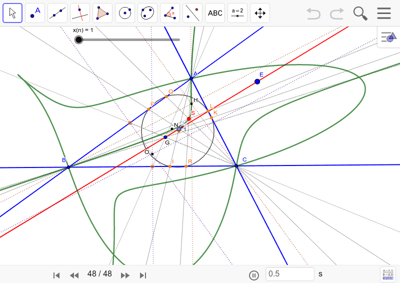 双曲線になるものだと思っていたら、こんな図になった。これは何だ? ワークシートを始めるにはEnter キーを押してください。