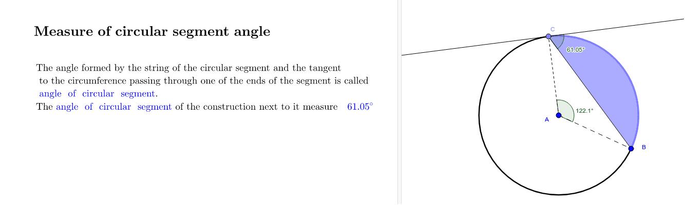 Measure of circular segment angle Press Enter to start activity