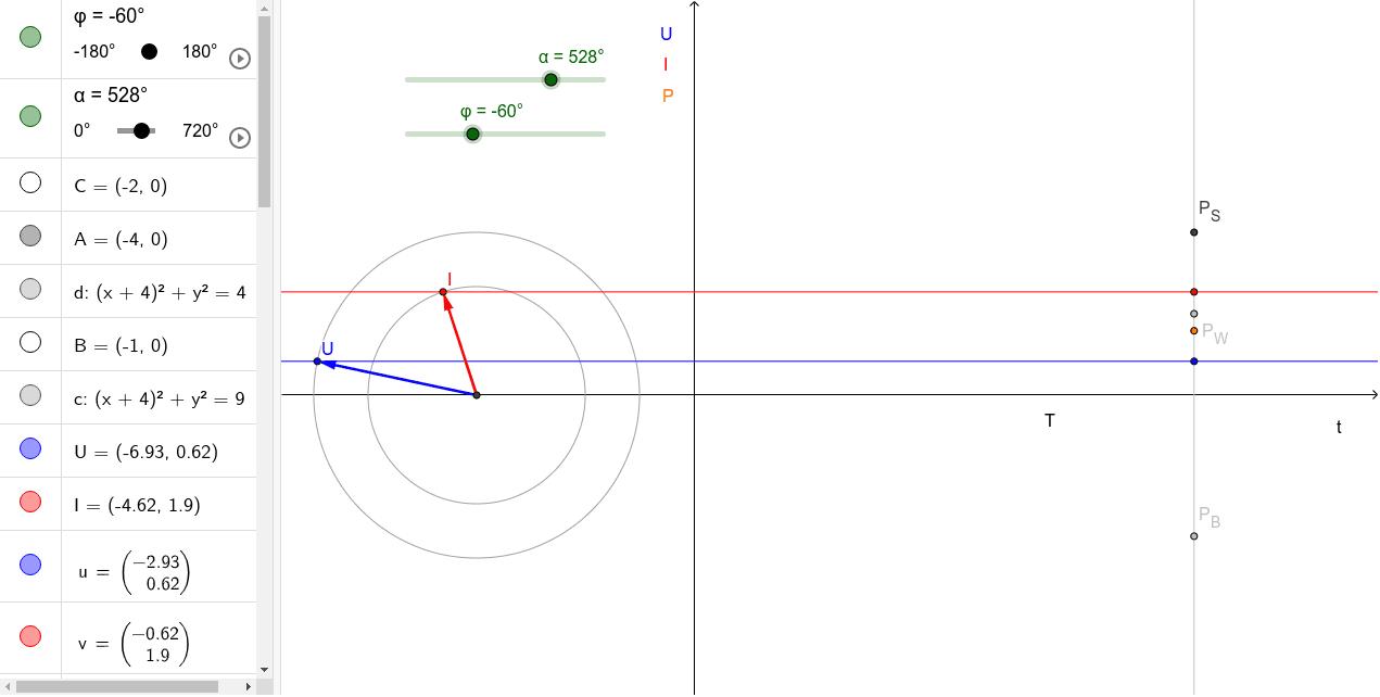 Zeigerdiagramm mit Darstellung von Blind-, Wirk- und Scheinleistung Drücke die Eingabetaste um die Aktivität zu starten