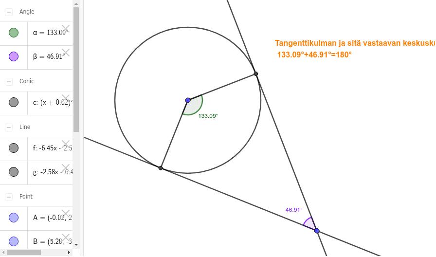 Tehtävä 4.2.2 : Tangenttikulma ja keskuskulma Paina Enter aloittaaksesi