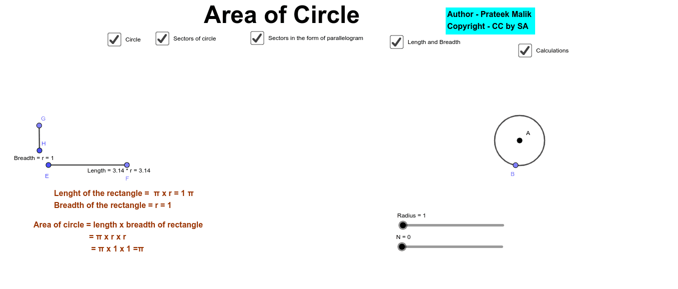 Change the N(no. of sectors) to check the area of the circle. Press Enter to start activity