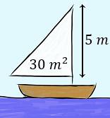 Hallar las medidas de los lados de una vela con forma de triángulo rectángulo si se quiere que tenga un área de 30 metros al cuadrado y que uno de sus catetos mida 5 metros para que se pueda colocar en el mástil.