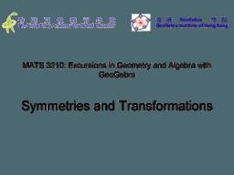 MATS3210-2 Symmetries and Transformations