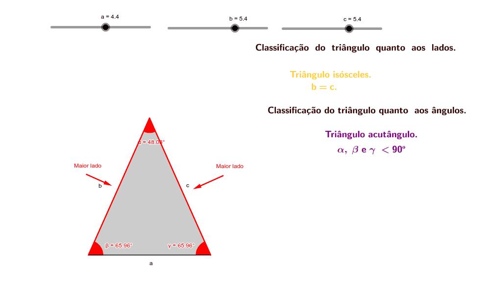CONSTRUÇÃO 1: Manipule os controles deslizantes para analisar e classificar os tipos de triângulos. Press Enter to start activity
